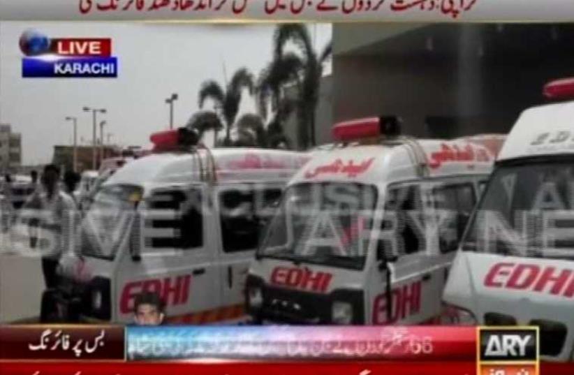 Motorcycle gunmen kill 41 in bus attack in Pakistan's Karachi (photo credit: screenshot)