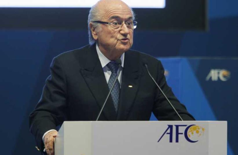 FIFA President Sepp Blatter speaks at the 26th Asian Football Confederation (AFC) Congress in Manama, Bahrain (photo credit: REUTERS)