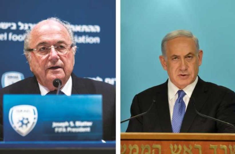 FIFA President Sepp Blatter (left) and Prime Minister Benjamin Netanyahu (photo credit: REUTERS,KOBI GIDEON/GPO)