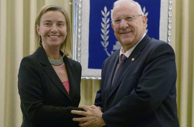 President Reuven Rivlin meeting with the European Union's foreign policy chief Federica Mogherini‏. (photo credit: Mark Neiman/GPO)