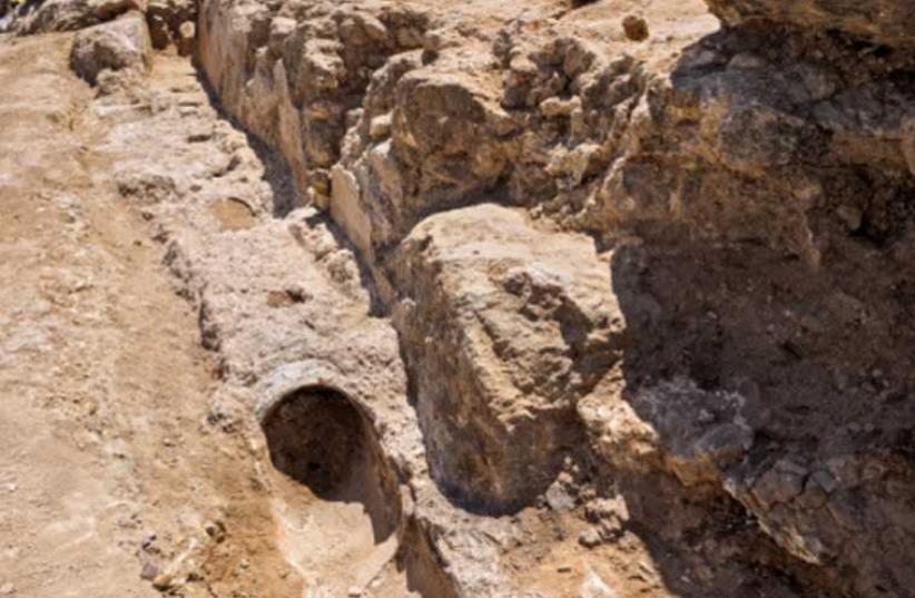 A SECTION of the recently exposed ancient lower aqueduct near Har Homa in east Jerusalem.  (photo credit: Israel Antiquities Authority)