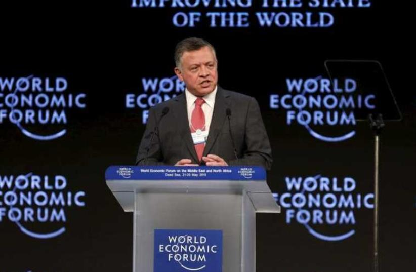 Jordan's King Abdullah speaks at the opening ceremony of the World Economic Forum on the Middle East and North Africa at the King Hussein Convention Centre at the Dead Sea May 22, 2015.  (photo credit: REUTERS)