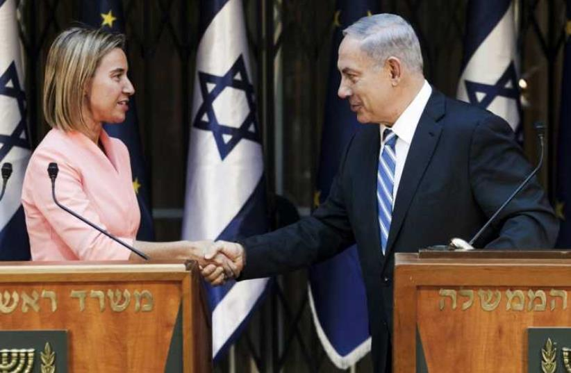 Prime Minister Benjamin Netanyahu hosts European Union foreign policy chief Federica Mogherini in Jerusalem, May 20 (photo credit: REUTERS)