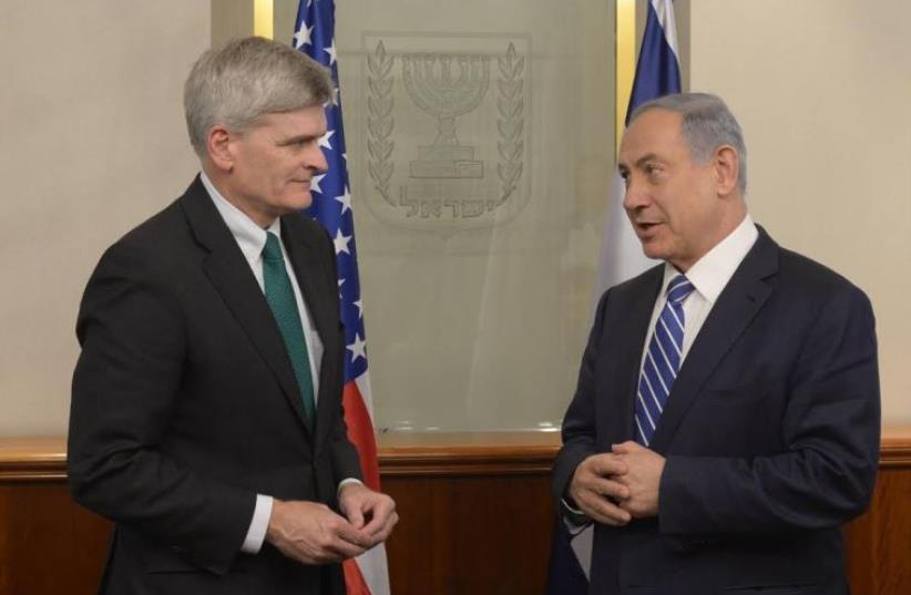 Prime Minister Benjamin Netanyahu meeting with Republican Louisiana senator Bill Cassidy (photo credit: GPO)