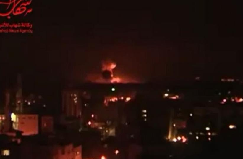 Explosions in Gaza following IDF attack (photo credit: PALESTINIAN MEDIA)
