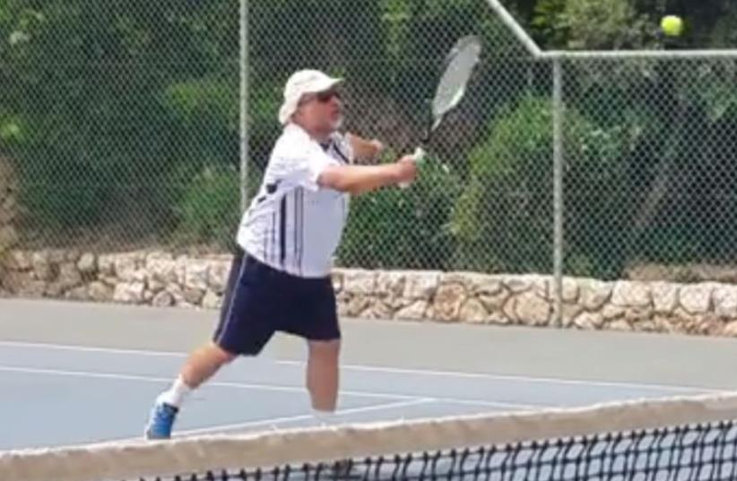 Avigdor Liberman plays tennis (photo credit: FACEBOOK)