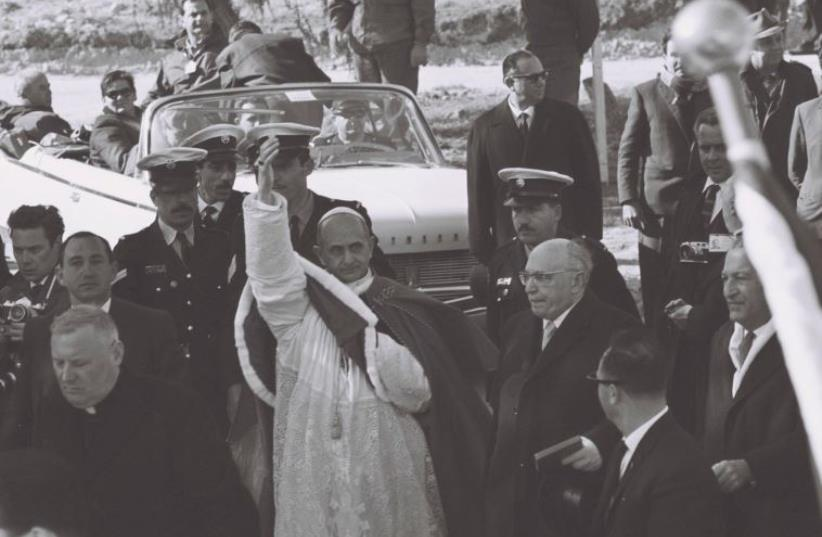 Pope Paul VI at Meggido in 1964: He made sure the name Israel would never escape his lips. President Zalman Shazar stands to his right. (photo credit: GPO/ JERUSALEM POST ARCHIVES)