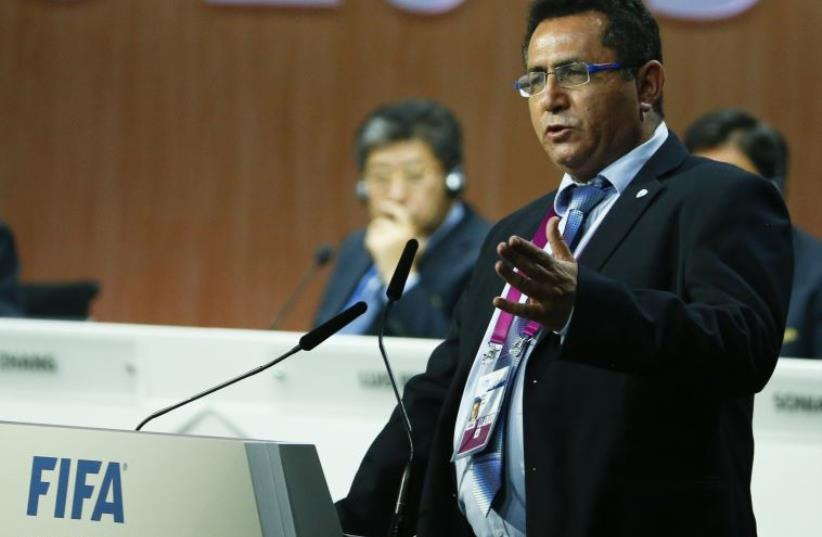 Israel Football Association president Ofer Eini addresses the 65th FIFA Congress in Zurich, Switzerland, May 29, 2015. (photo credit: REUTERS)
