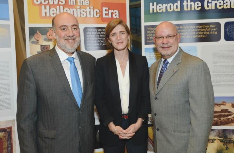 Israel Ambassador to the UN Ron Prosor, US envoy Samantha Power and Canadian Ambassador Guillermo Rishchynski.  (photo credit: SHAHAR AZRAN)