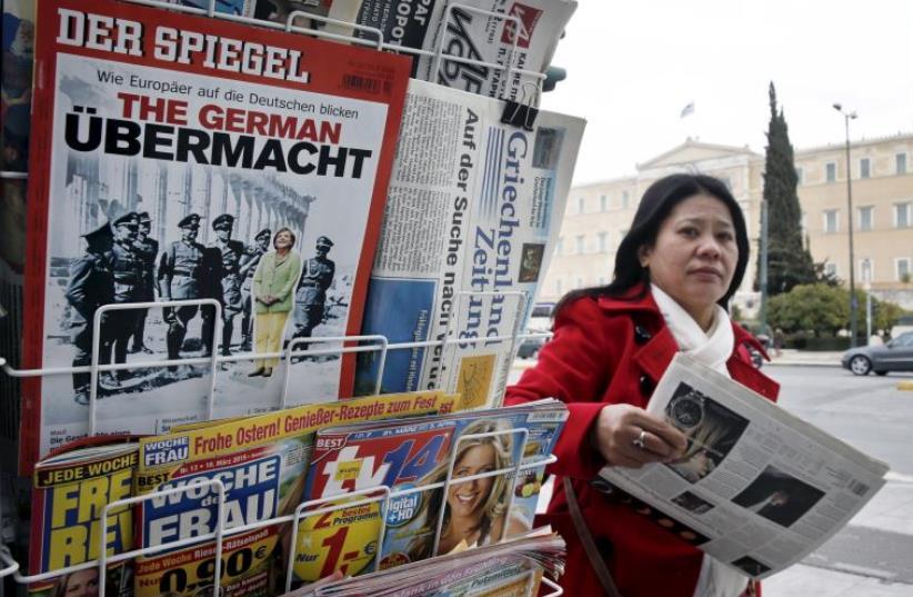 German news magazine Der Spiegel is seen at a newsstand in Athens (photo credit: REUTERS)
