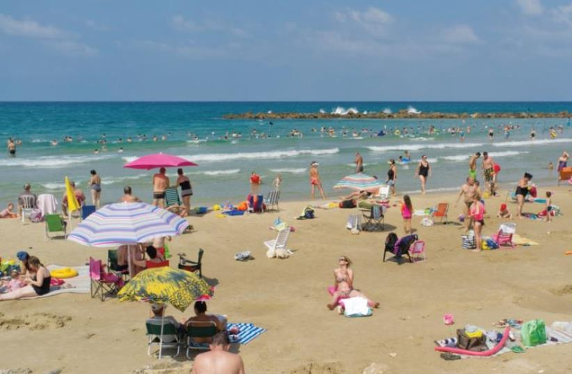 Hatzuk Beach, Netanya, by Orit Siman Tov, from 'The Last Sea – Israeli Art and the Sea' exhibition. (photo credit: Courtesy)