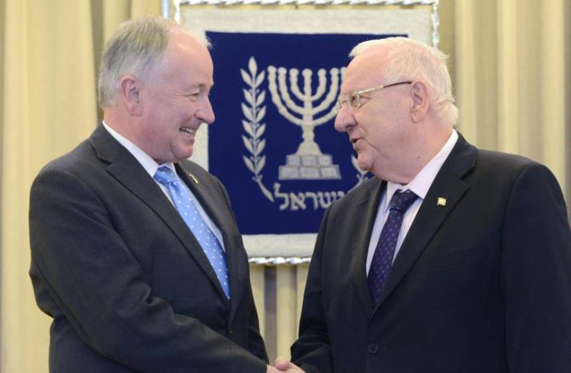 President Rivlin with Canadian Foreign Minister Robert Nicholson (photo credit: Mark Neiman/GPO)