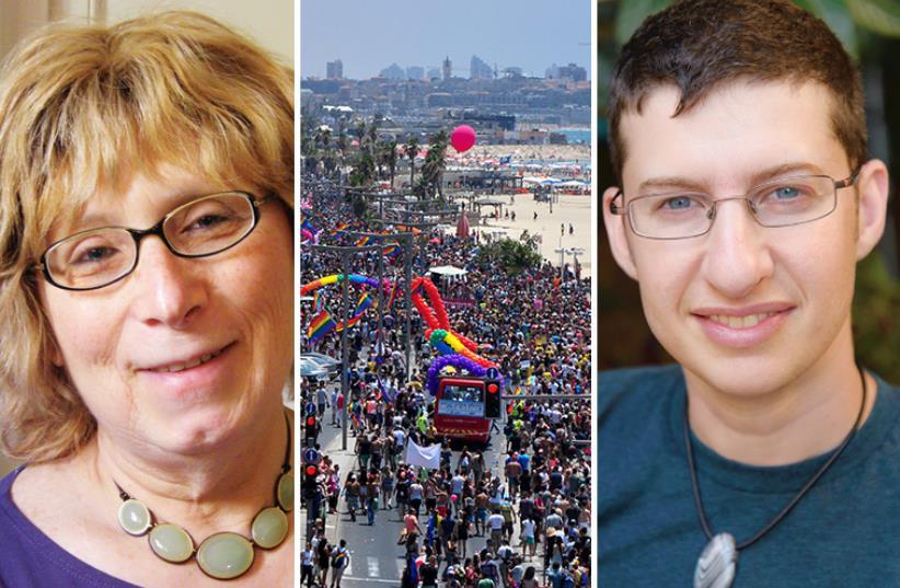 From left: Nora Grinberg, Tel Aviv's 2014 Pride Parade, Elisha Alexander (photo credit: ARSEN OSTROVSKY,LIAT MANDEL)