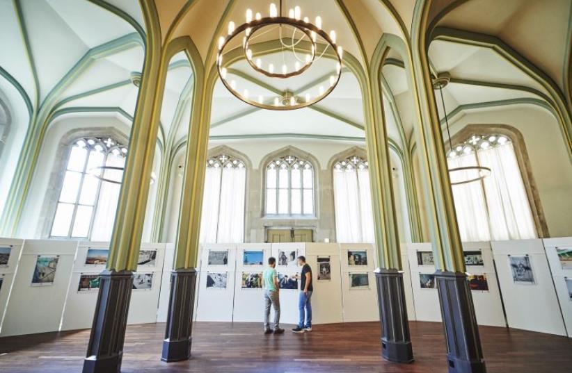 The Breaking the Silence exhibit at the Kulturhaus Helferei in Zurich, Switzerland (photo credit: AFP/MICHAEL BUHOLZER)
