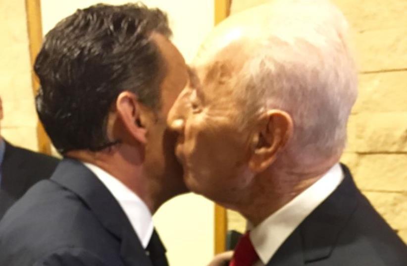 Former president Shimon Peres Former French President Nicolas Sarkozy (photo credit: FORMER PRESIDENTIAL SPOKESPERSON OFFICE)