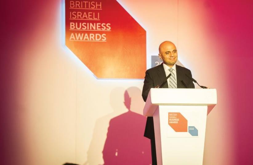 UK BUSINESS SECRETARY Sajid Javid speaks at the UK Israel Business annual awards dinner on Monday. (photo credit: BLAKE EZRA PHOTOGRAPHY)