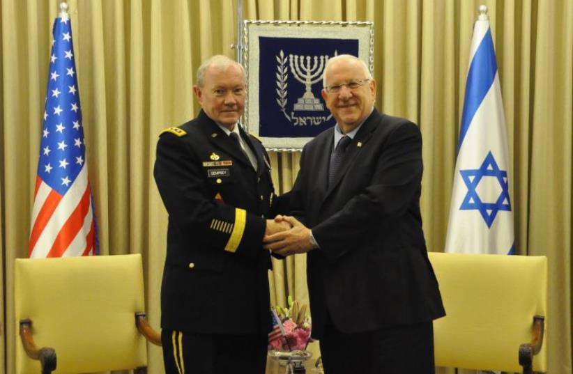 President Rivlin meet Gen. Dempsey, Chairman of the United States' Joint Chiefs of Staff (photo credit: PRESIDENTIAL SPOKESPERSON OFFICE)