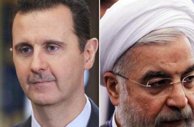Iranian President Hassan Rouhani and Syrian President Bashar al-Assad  (photo credit: REUTERS)