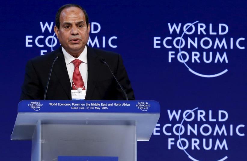 Egyptian President Abdel Fattah al-Sisi addresses the World Economic Forum in Jordan (photo credit: REUTERS)