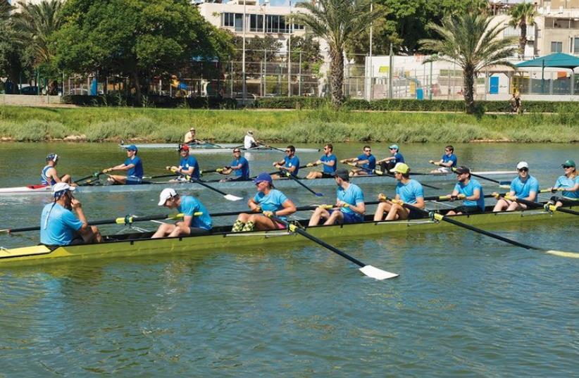 Israel's first university boat race at the Yarkon River on Saturday (photo credit: BONNIE LEVRON/COURTESY)
