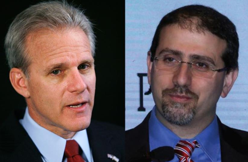 Dan Shapiro and Michael Oren (photo credit: REUTERS,MARC ISRAEL SELLEM/THE JERUSALEM POST)