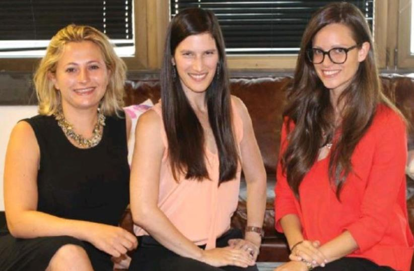 Mor Assia is flanked by Darya Fuks (left) and Shelly Hod Moyal. (photo credit: COURTESY IANGELS)