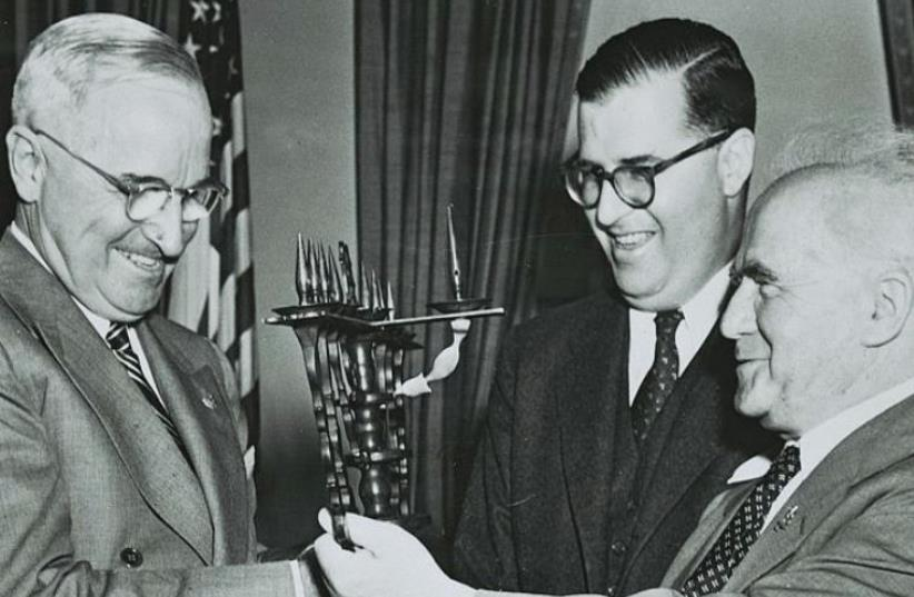 Abba Eban and prime minister David Ben-Gurion visiting US president Harry Truman, 1951. (photo credit: FRITZ COHEN)