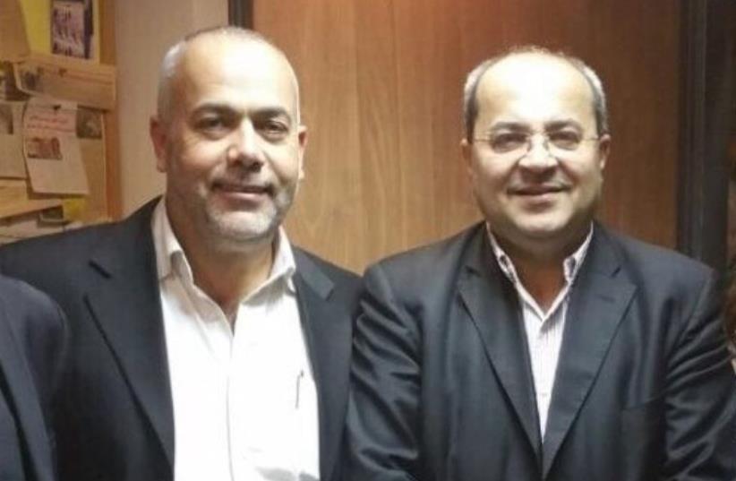 Ta'al Party Chairman Ahmad Tibi (Right) and fellow party MK Osama Sa'adi (Left) (photo credit: Courtesy)