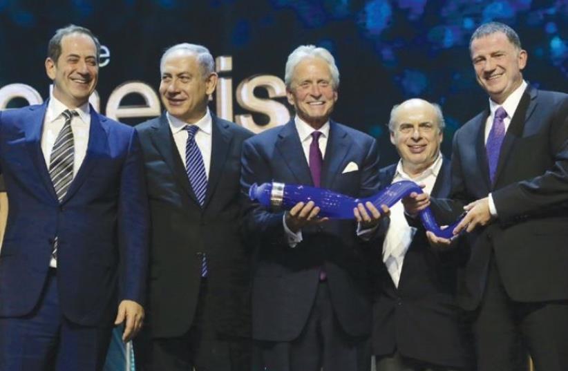 Genesis Prize Foundation CEO Stan Polovets, Prime Minister Benjamin Netanyahu, Michael Douglas, Natan Sharansky and Yuli Edelstein (photo credit: MARC ISRAEL SELLEM)