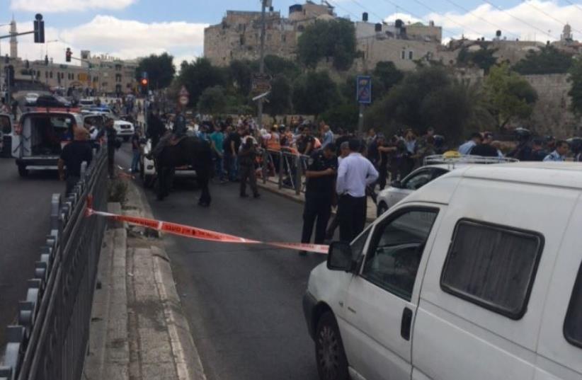 Stabbing attack near Damascus Gate (photo credit: ITZIK COHEN)