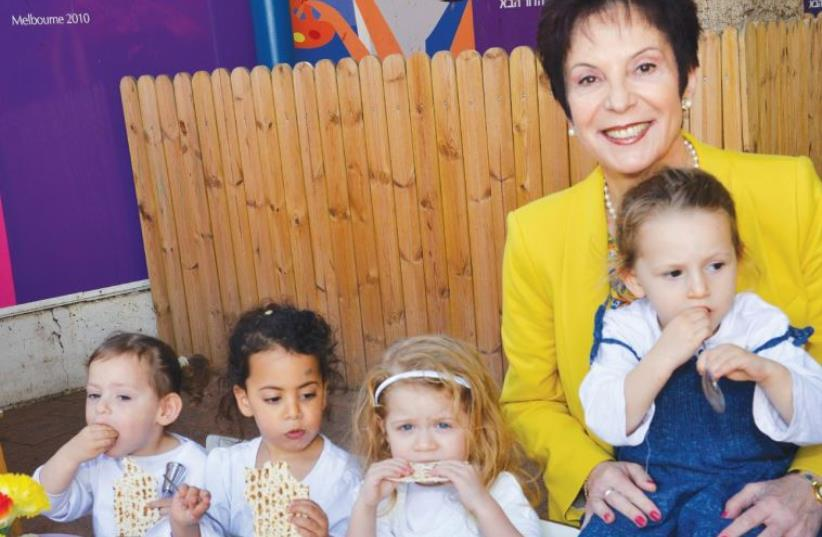 RIVKA LAZOVSKY, chairwoman of the World WIZO Executive, enjoys herself at a WIZO daycare center on King George Street in Tel Aviv. (photo credit: KFIR MEIR)