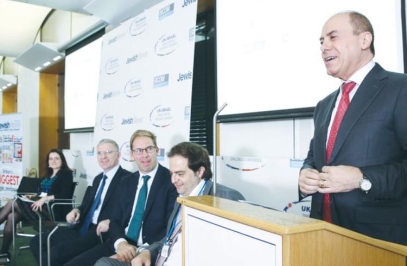 VICE PREMIER Silvan Shalom speaks at the BICOM-'Jewish News' conference in London on Monday. (photo credit: BICOM)