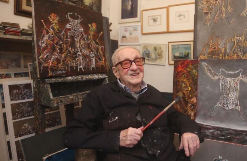 INTERNATIONALLY RENOWNED artist Yosl Bergner sits in his Tel Aviv studio on Tuesday (photo credit: MARC ISRAEL SELLEM)