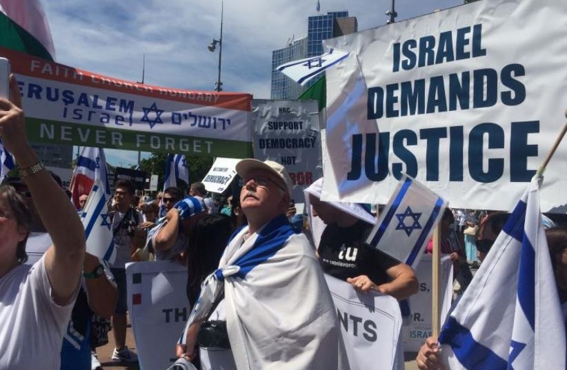 Pro Israel rally outside UNHRC in Geneva (photo credit: SAM SOKOL)