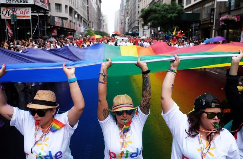 New York City gay pride parade of 2015 (photo credit: JEWEL SAMAD / AFP)