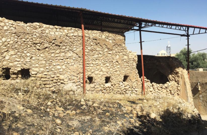 The partially ruined state of the ancient synagogue in al-Qosh, Iraqi Kurdistan. (photo credit: SETH J. FRANTZMAN)
