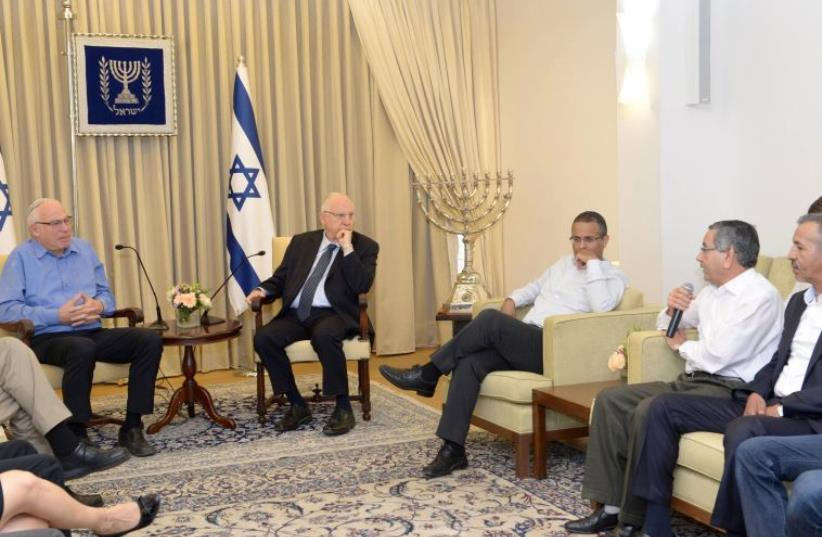 President Rivlin hosts Beduin regional heads with Minister for Agriculture and Rural Development (photo credit: Mark Neiman/GPO)