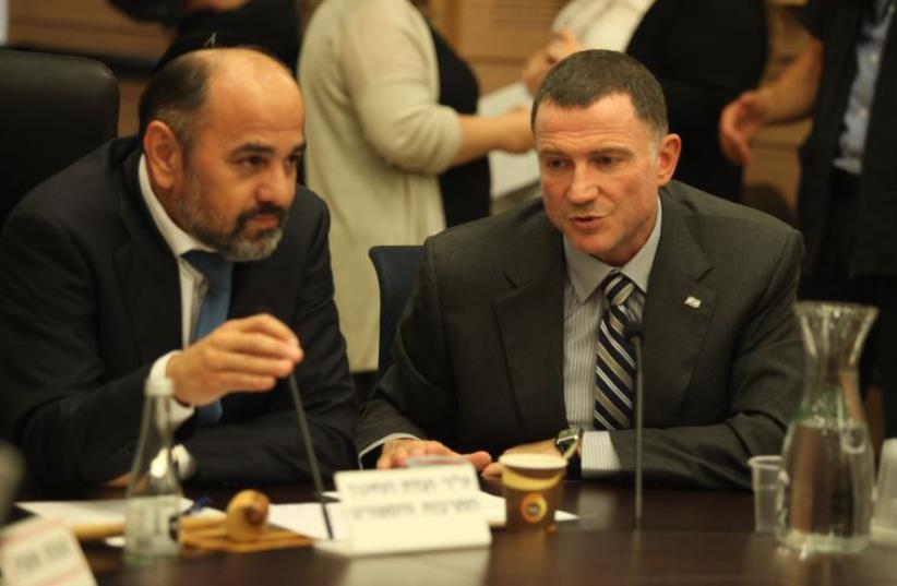 Knesset Speaker Yuli Edelstein and Knesset Education, Culture and Sport Committee chairman Ya'acov Margi (Shas) at a meeting on recognizing the Armenian genocide (photo credit: KNESSET SPOKESMAN'S OFFICE)