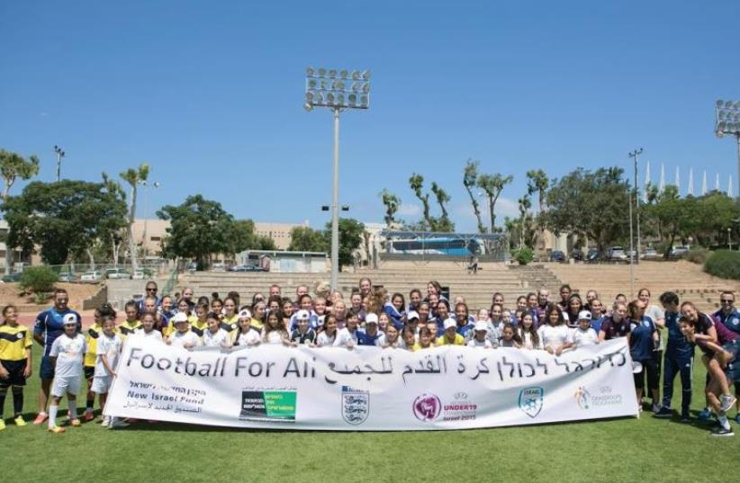 Participants in 'Football for all' event (photo credit: ANAR GREEN)