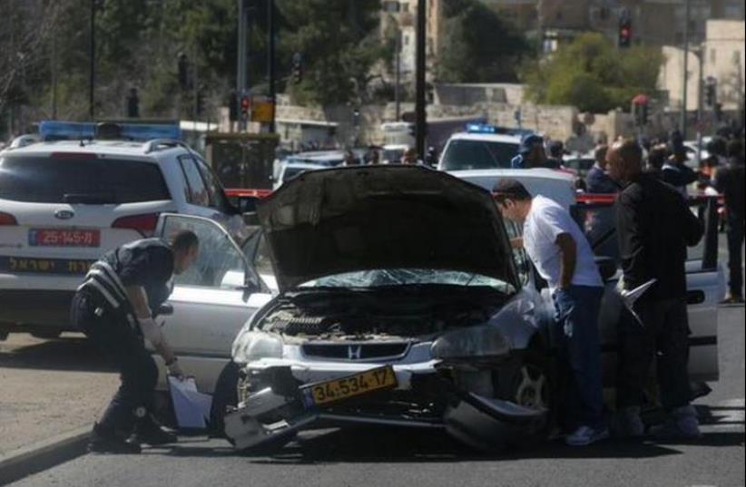 Car ramming attack in Jerusalem, March 6 (photo credit: MARC ISRAEL SELLEM)