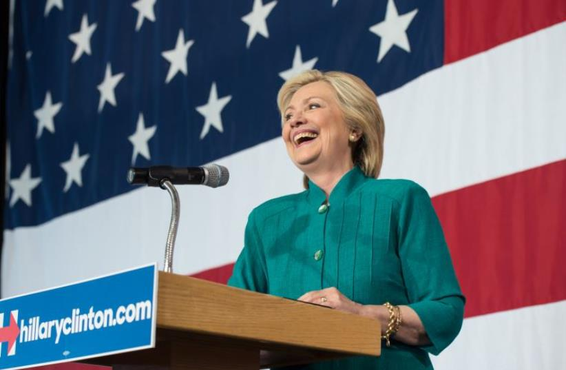 Hillary Clinton at a campaign event in Des Moines, Iowa (photo credit: Courtesy)