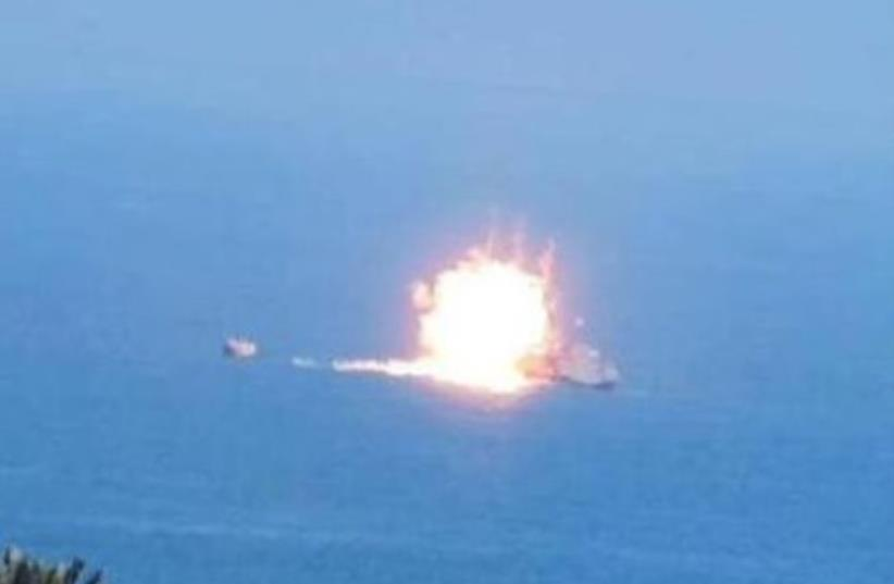 ISIS attacks Egyptian naval vessel off of Mediterranean  (photo credit: EGYPTIAN SOCIAL MEDIA)
