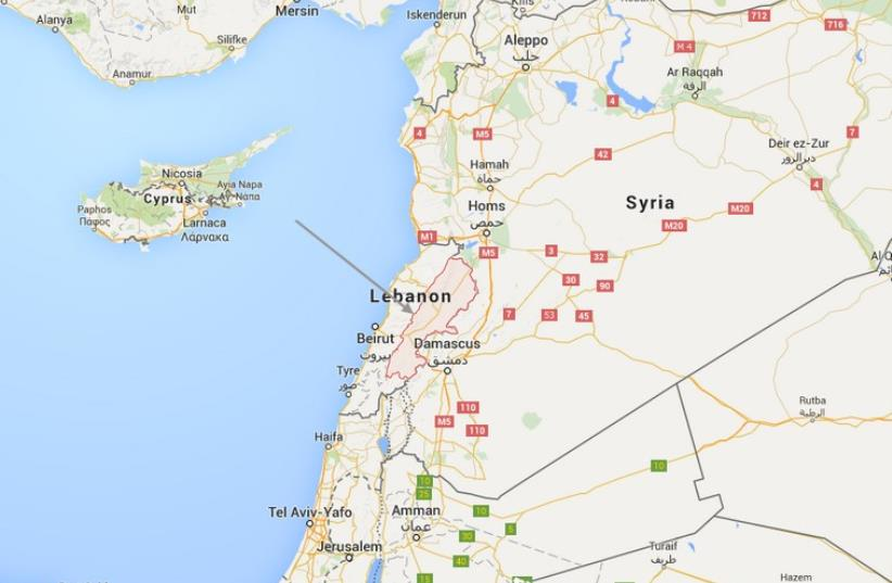 Map of Lebanon (photo credit: GOOGLE)