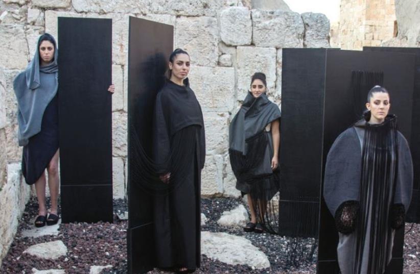 BEZALEL GRADUATE Angham Khalil showcases her fashion designs at the Tower of David Museum. (photo credit: SARAH LEVI)