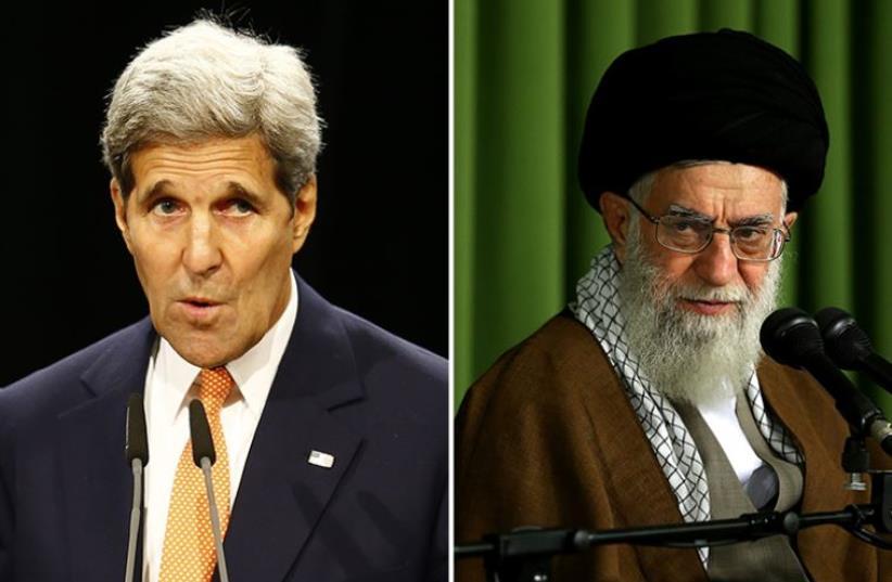 John Kerry and Ayatollah Khamenei (photo credit: HO - / IRANIAN SUPREME LEADER'S WEBSITE / AFP,REUTERS)