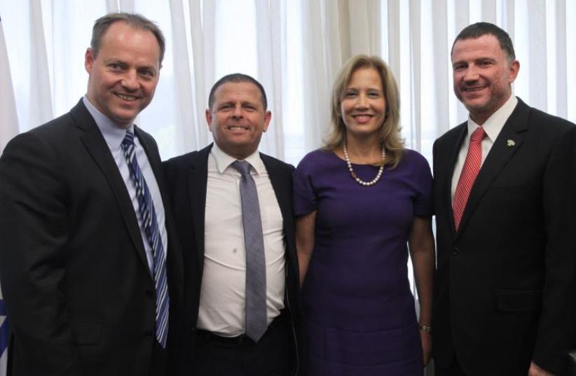 From left: IDI President Yohanan Plesner, Eitan Cabel, Aliza Lavie, and Yuli Edelstein (photo credit: KNESSET SPOKESMAN'S OFFICE)