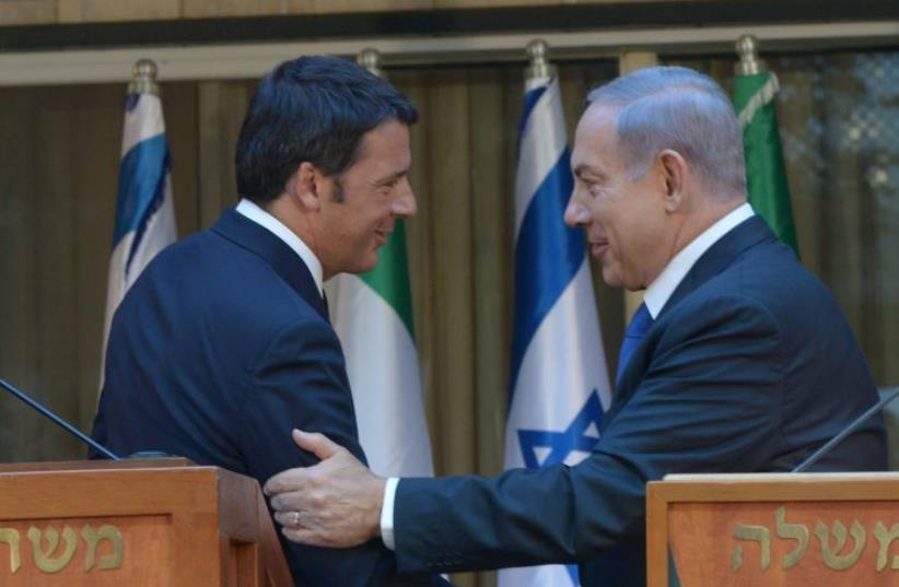 Prime Minister Benjamin Netanyahu meets Italian Prime Minister Matteo Renzi (photo credit: AMOS BEN-GERSHOM/GPO)
