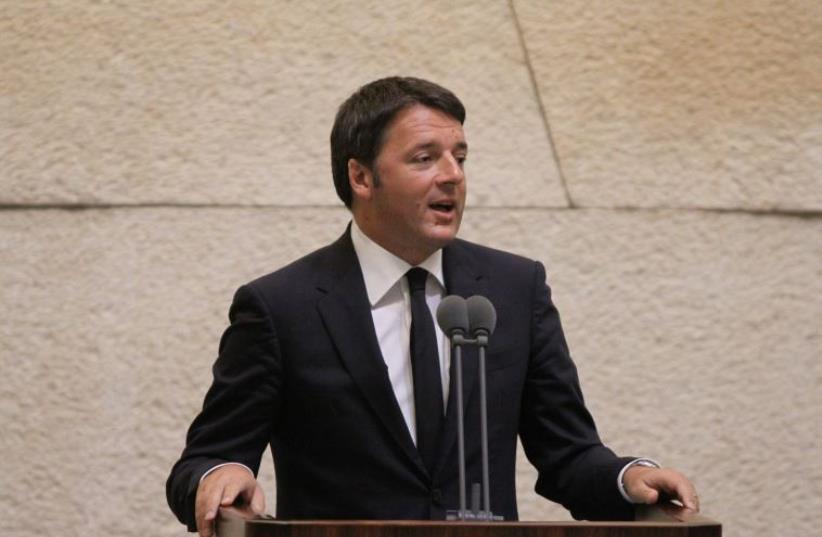 Italian PM Matteo Renzi addresses Knesset (photo credit: KNESSET SPOKESMAN'S OFFICE)