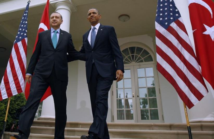 US President Barack Obama and President of Turkey, Recep Tayyip Erdogan  (photo credit: REUTERS)