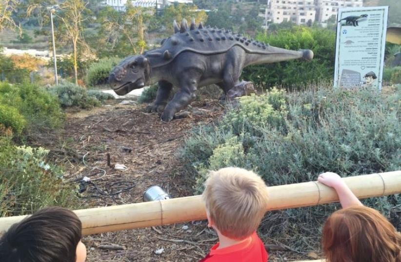 Dinosaurs roam the Botanical Gardens terrain. (photo credit: JOANNA SHEBSON)